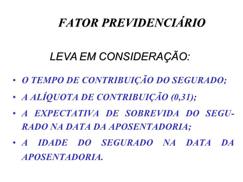 FATOR PREVIDENCIÁRIO LEVA EM CONSIDERAÇÃO: