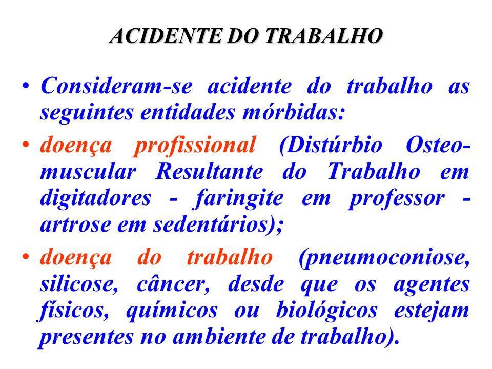 Consideram-se acidente do trabalho as seguintes entidades mórbidas: