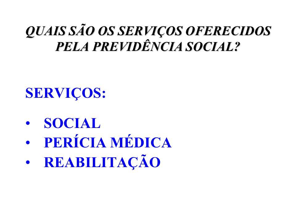 QUAIS SÃO OS SERVIÇOS OFERECIDOS PELA PREVIDÊNCIA SOCIAL