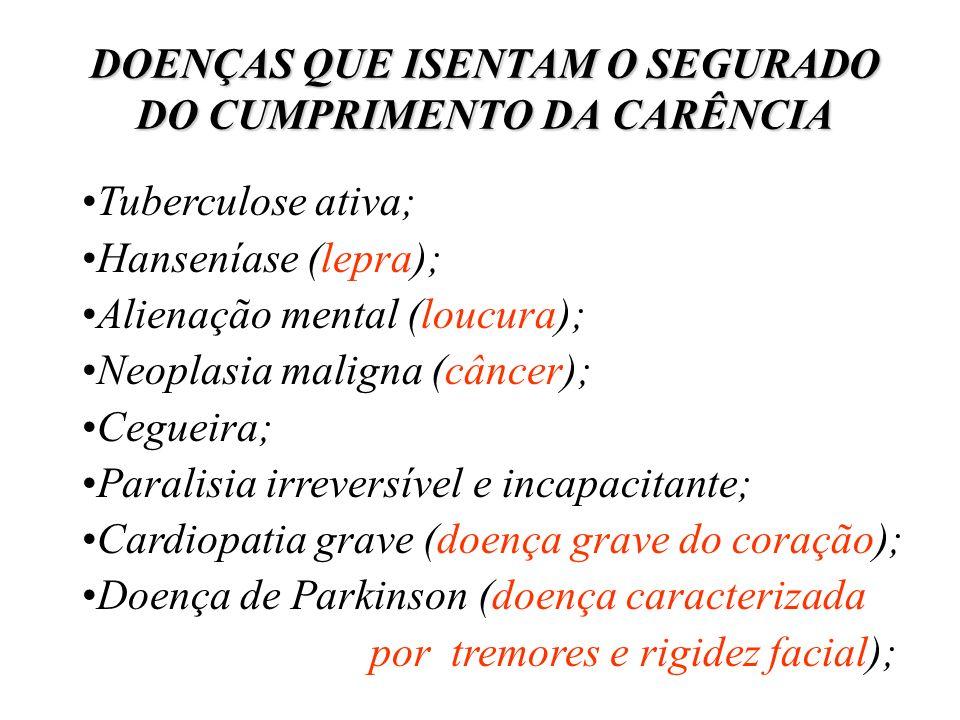 DOENÇAS QUE ISENTAM O SEGURADO DO CUMPRIMENTO DA CARÊNCIA