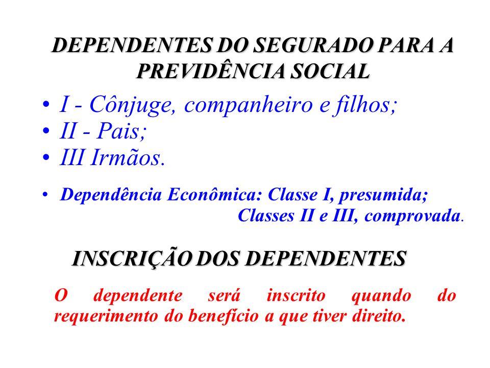 DEPENDENTES DO SEGURADO PARA A PREVIDÊNCIA SOCIAL