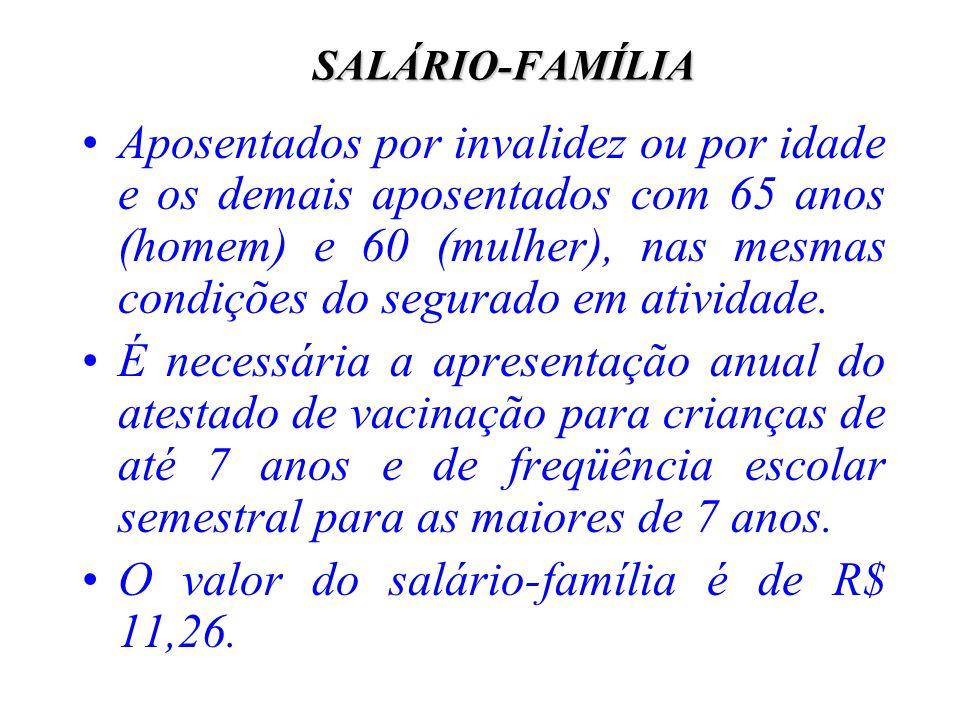 O valor do salário-família é de R$ 11,26.