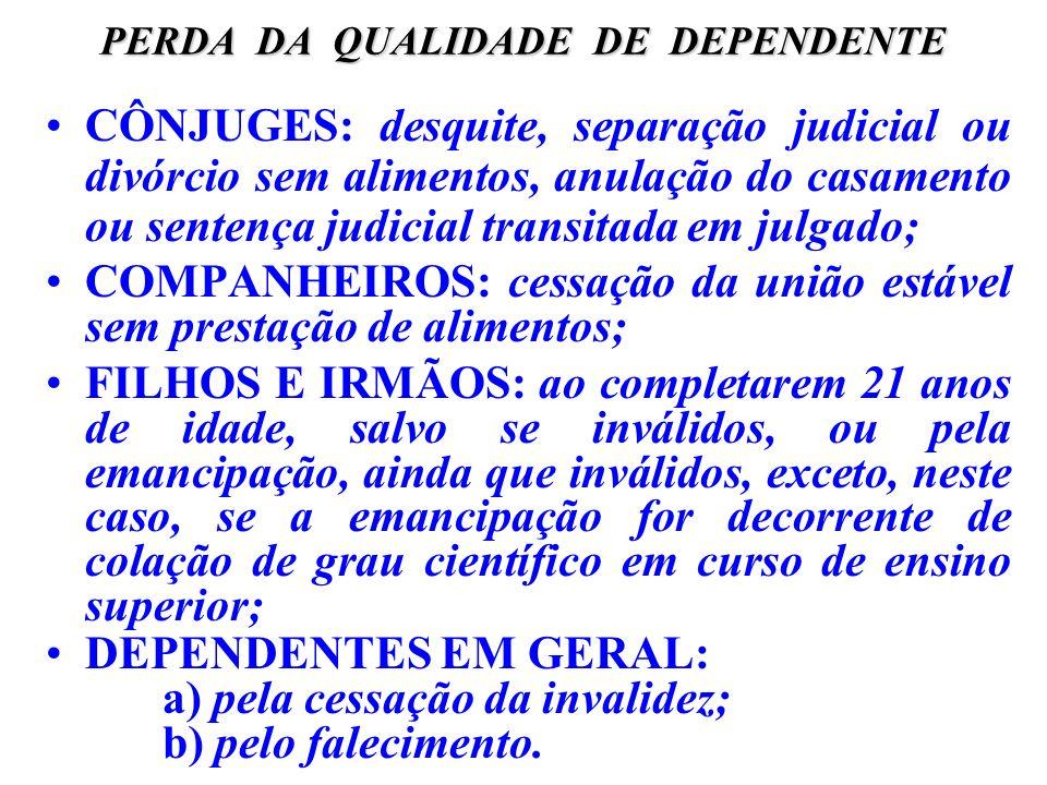 PERDA DA QUALIDADE DE DEPENDENTE