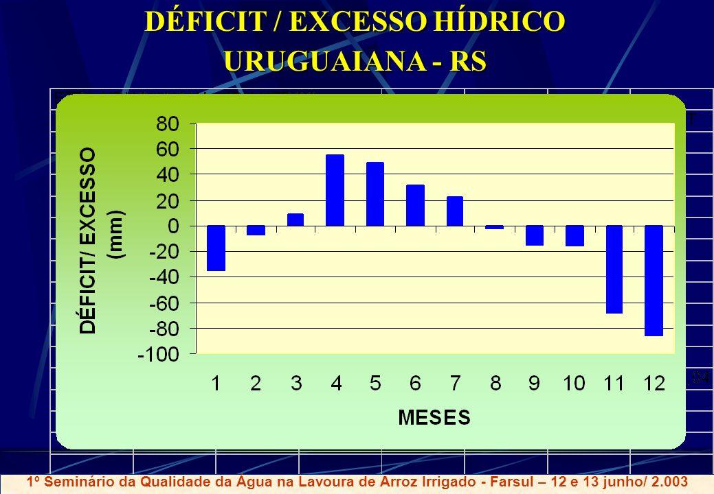 DÉFICIT / EXCESSO HÍDRICO