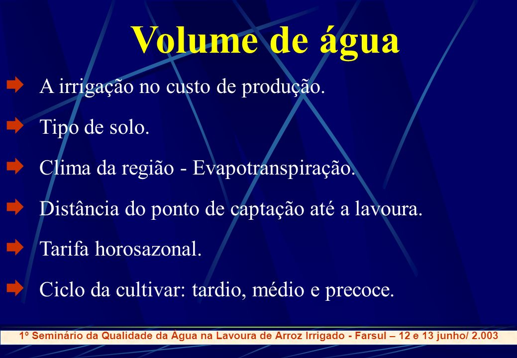 Volume de água A irrigação no custo de produção. Tipo de solo.