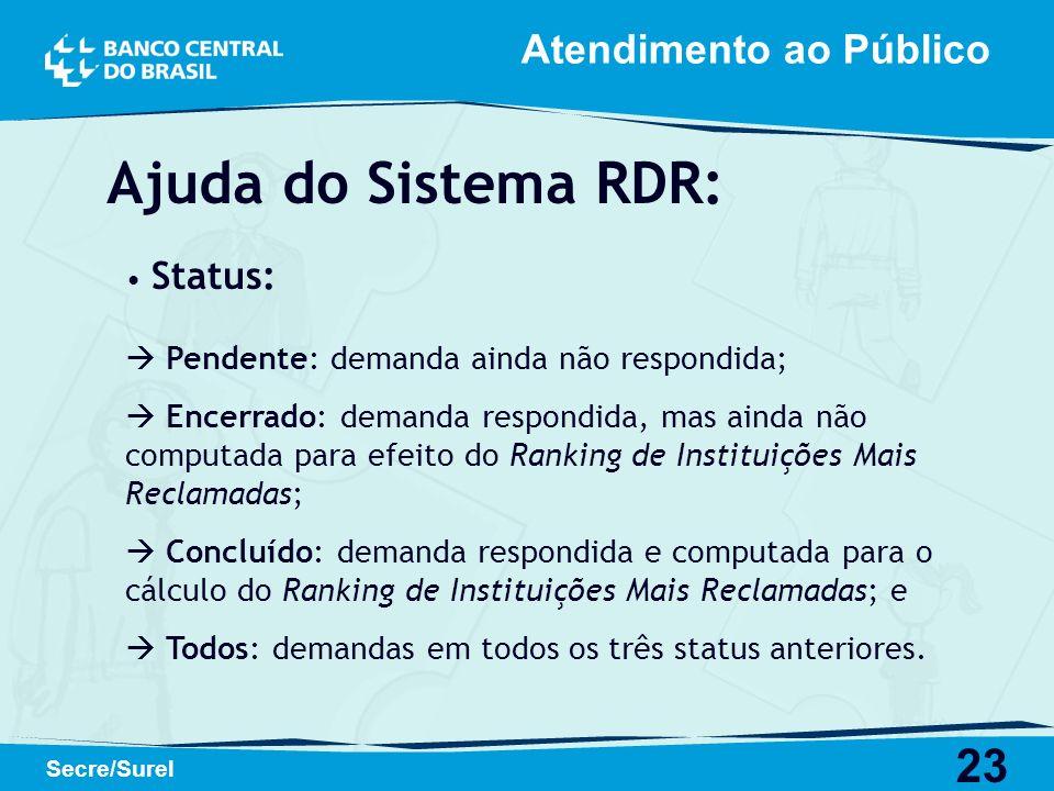 Ajuda do Sistema RDR: Atendimento ao Público Status: