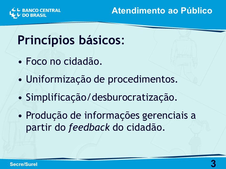 Princípios básicos: Foco no cidadão. Uniformização de procedimentos.