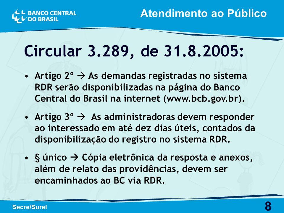Circular 3.289, de 31.8.2005: Atendimento ao Público
