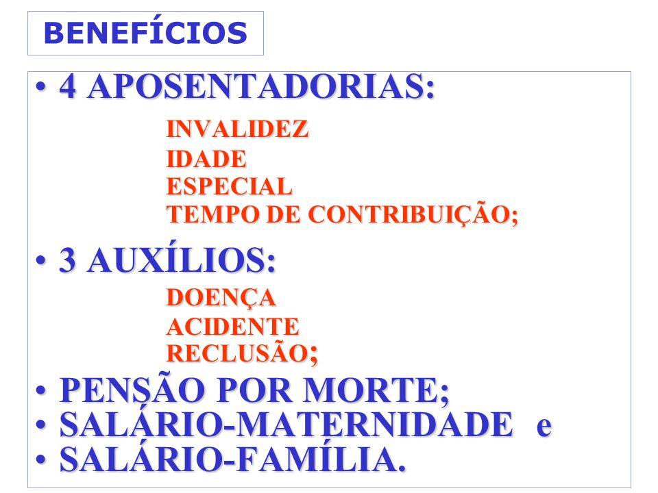 SALÁRIO-MATERNIDADE e SALÁRIO-FAMÍLIA.