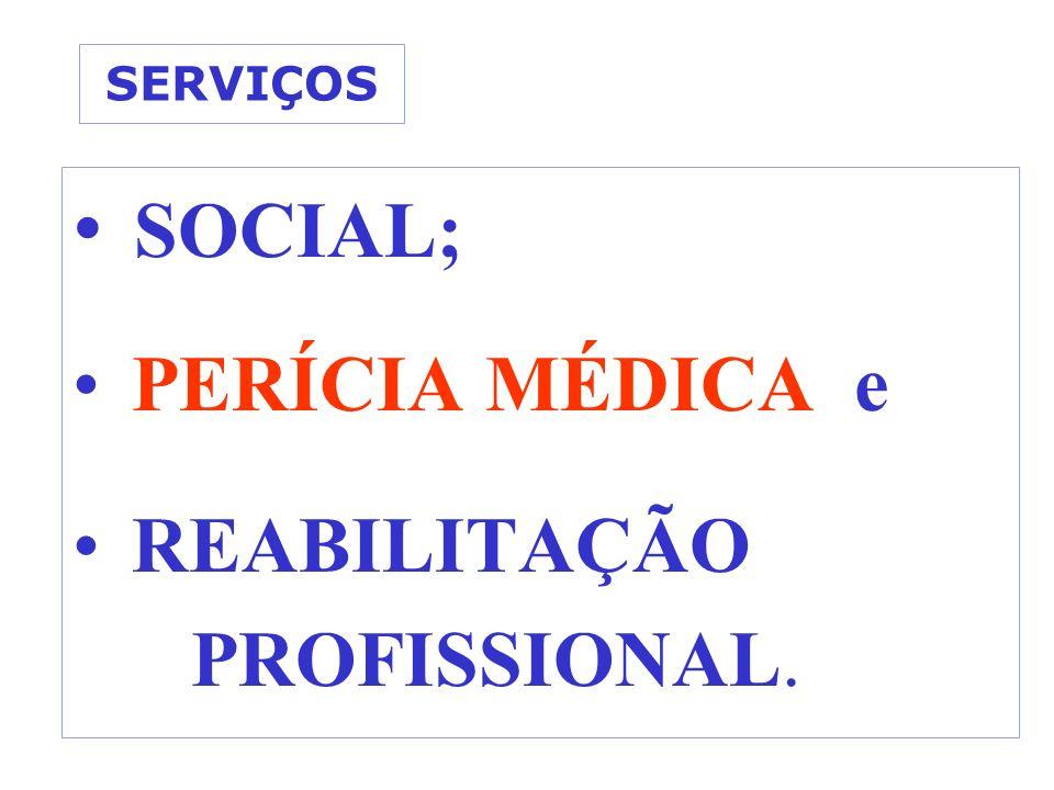 SERVIÇOS SOCIAL; PERÍCIA MÉDICA e REABILITAÇÃO PROFISSIONAL.