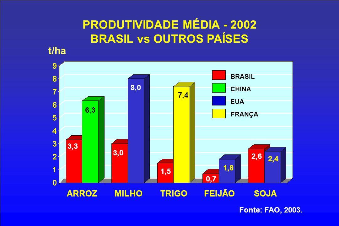 PRODUTIVIDADE MÉDIA - 2002 BRASIL vs OUTROS PAÍSES