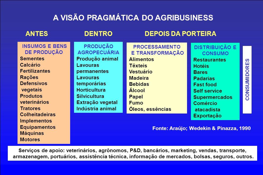 INSUMOS E BENS DE PRODUÇÃO Fonte: Araújo; Wedekin & Pinazza, 1990