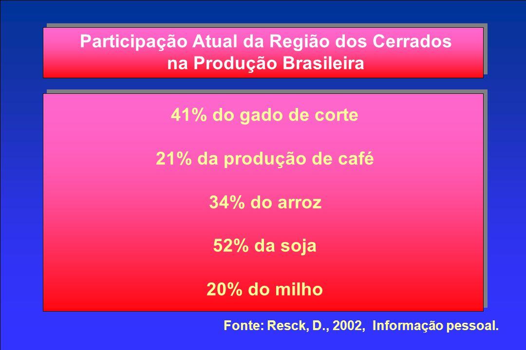 Participação Atual da Região dos Cerrados na Produção Brasileira