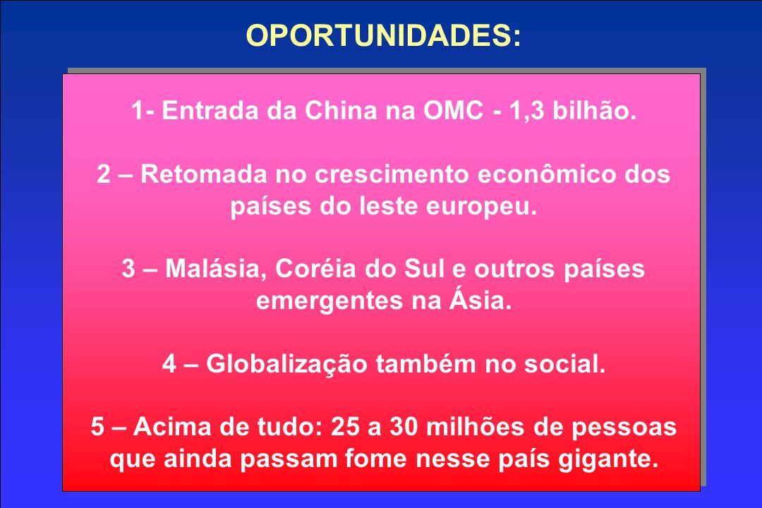 OPORTUNIDADES: 1- Entrada da China na OMC - 1,3 bilhão.