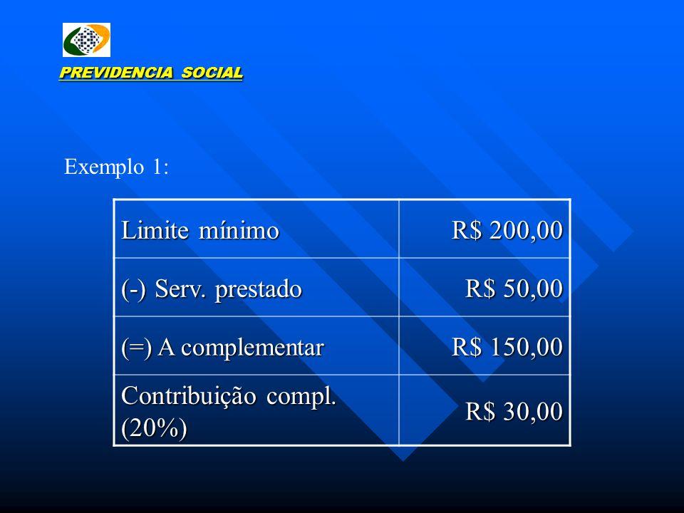 Contribuição compl. (20%) R$ 30,00