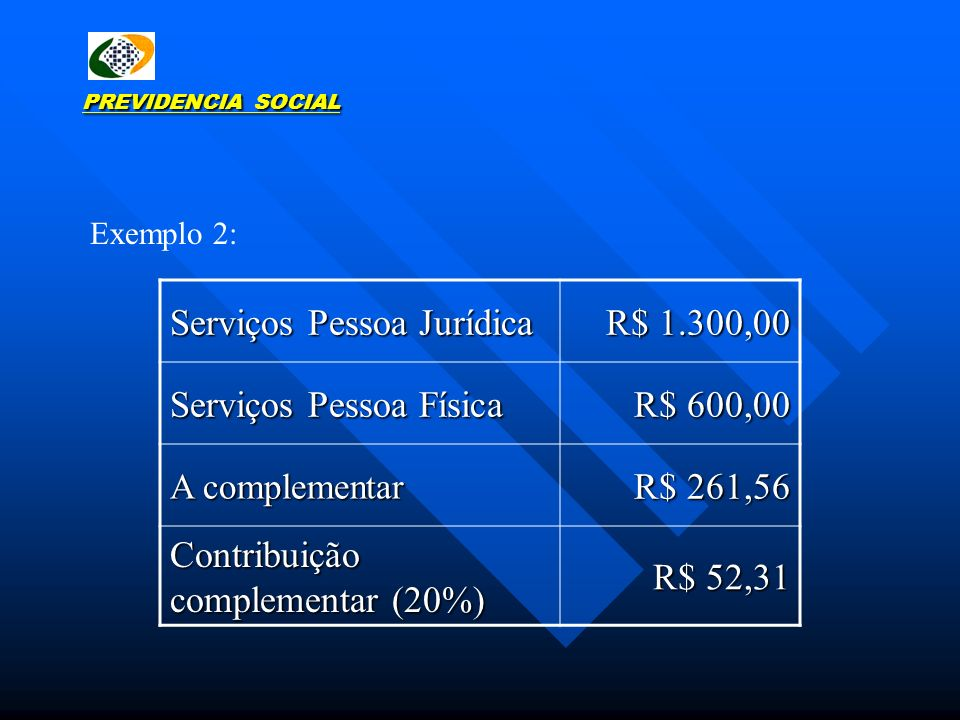 Serviços Pessoa Jurídica R$ 1.300,00 Serviços Pessoa Física R$ 600,00