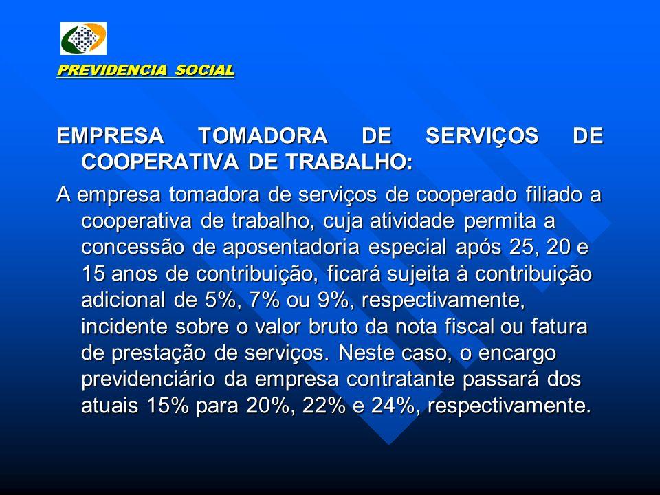 EMPRESA TOMADORA DE SERVIÇOS DE COOPERATIVA DE TRABALHO: