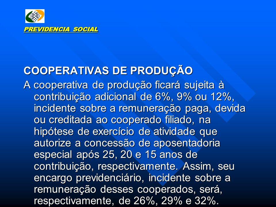 COOPERATIVAS DE PRODUÇÃO