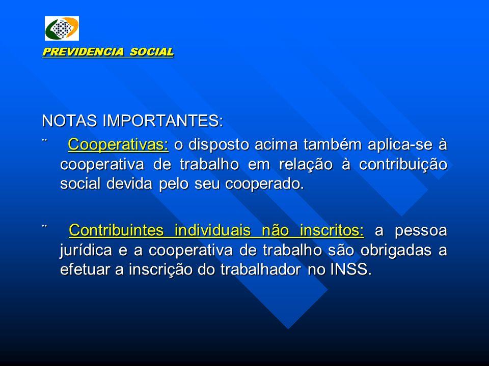 PREVIDENCIA SOCIAL NOTAS IMPORTANTES:
