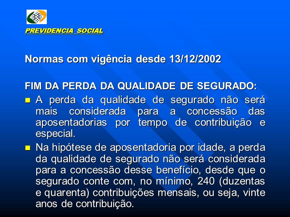 Normas com vigência desde 13/12/2002