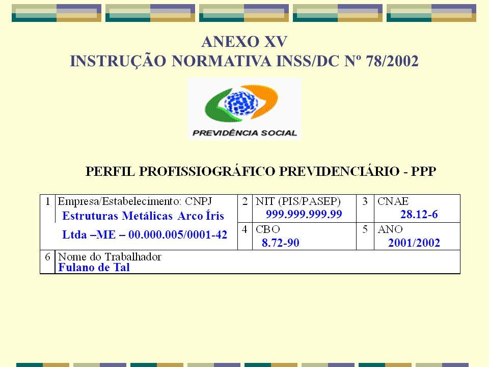 INSTRUÇÃO NORMATIVA INSS/DC Nº 78/2002