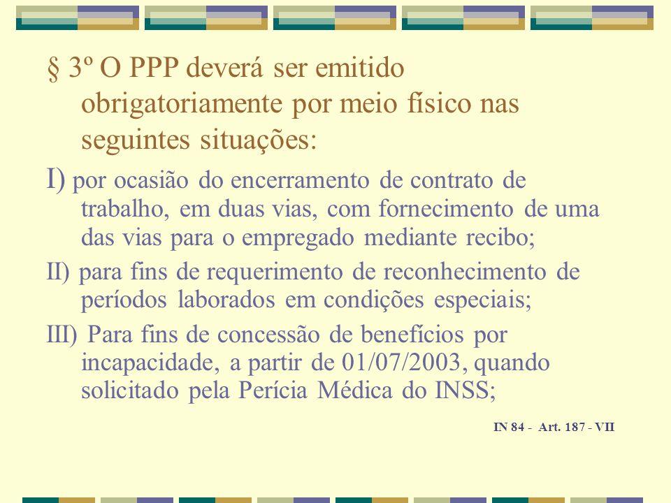 § 3º O PPP deverá ser emitido obrigatoriamente por meio físico nas seguintes situações: