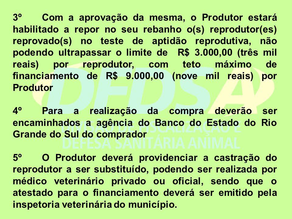 3º Com a aprovação da mesma, o Produtor estará habilitado a repor no seu rebanho o(s) reprodutor(es) reprovado(s) no teste de aptidão reprodutiva, não podendo ultrapassar o limite de R$ 3.000,00 (três mil reais) por reprodutor, com teto máximo de financiamento de R$ 9.000,00 (nove mil reais) por Produtor