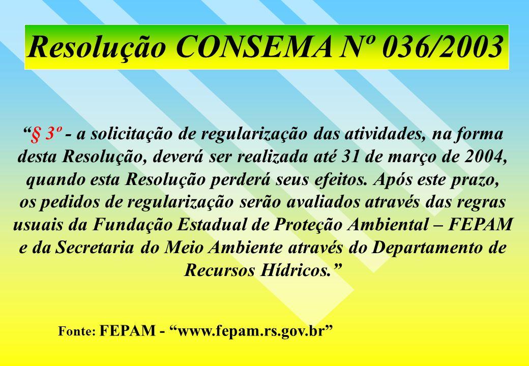 Resolução CONSEMA Nº 036/2003 § 3º - a solicitação de regularização das atividades, na forma.