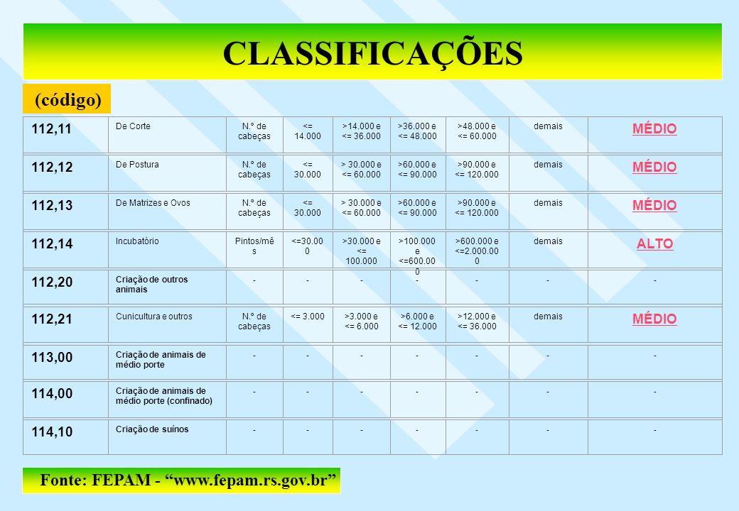 CLASSIFICAÇÕES (código) Fonte: FEPAM - www.fepam.rs.gov.br 112,11