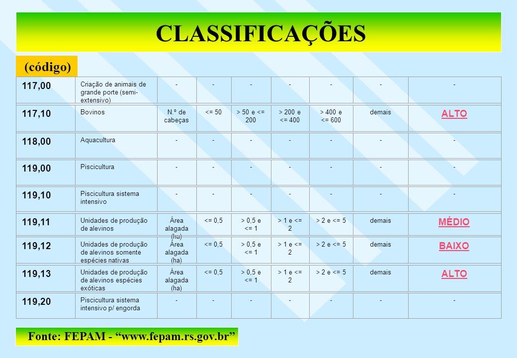 CLASSIFICAÇÕES (código) Fonte: FEPAM - www.fepam.rs.gov.br 117,00