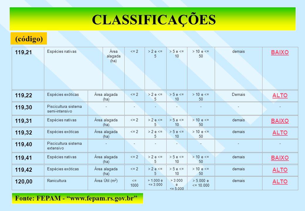 CLASSIFICAÇÕES (código) Fonte: FEPAM - www.fepam.rs.gov.br 119,21