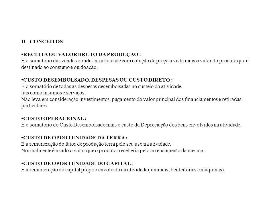 II - CONCEITOS RECEITA OU VALOR BRUTO DA PRODUÇÃO :