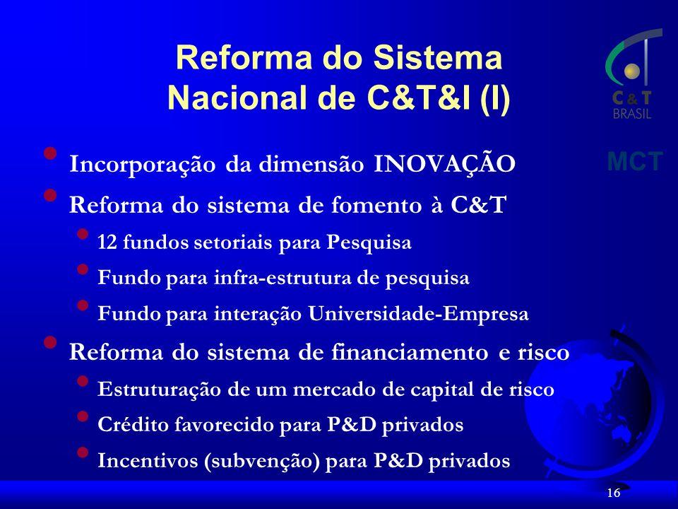 Reforma do Sistema Nacional de C&T&I (I)