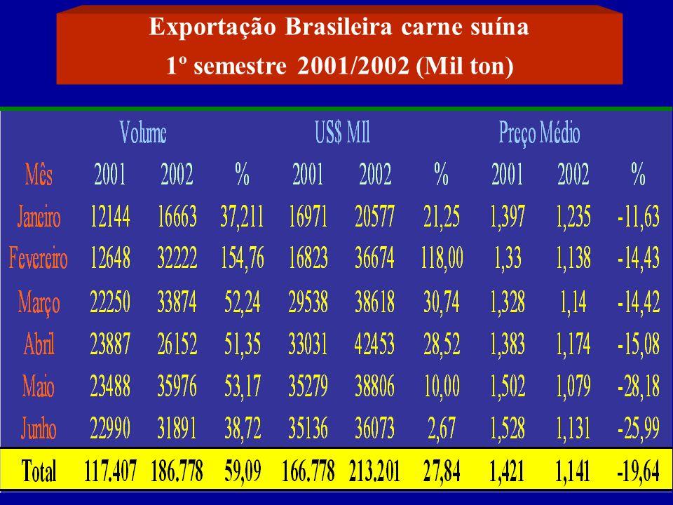 Exportação Brasileira carne suína