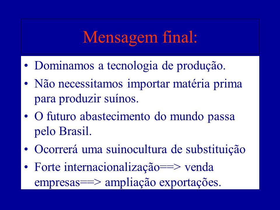 Mensagem final: Dominamos a tecnologia de produção.