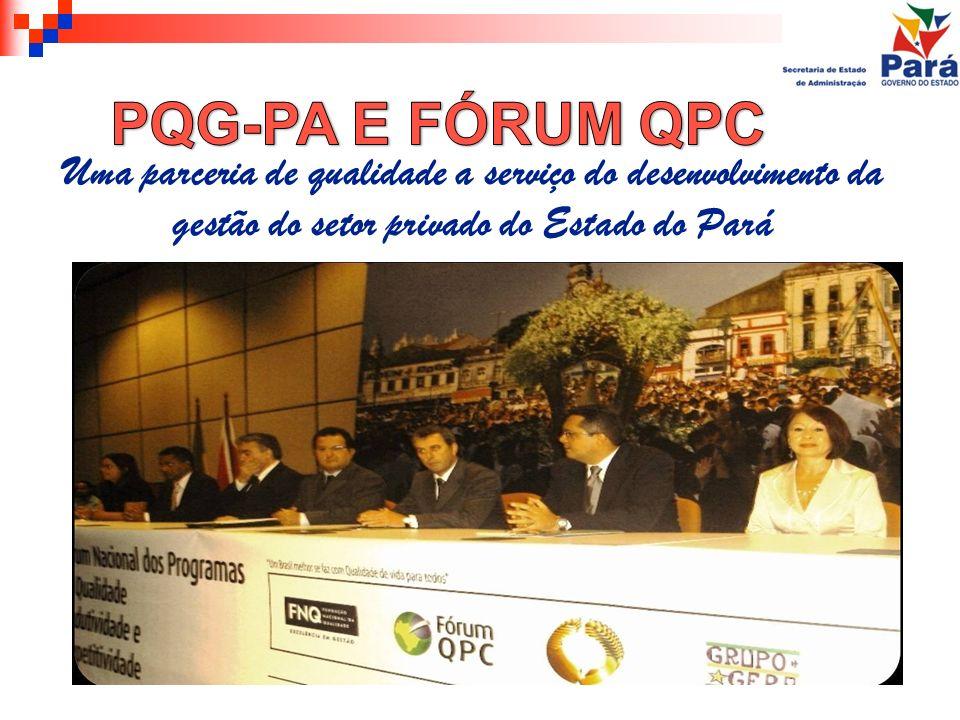 PQG-PA E FÓRUM QPC Uma parceria de qualidade a serviço do desenvolvimento da gestão do setor privado do Estado do Pará.