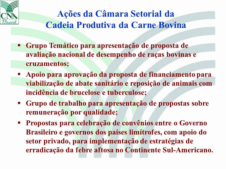 Ações da Câmara Setorial da Cadeia Produtiva da Carne Bovina