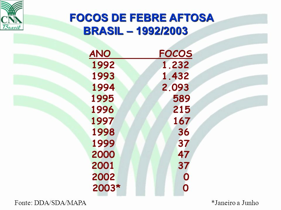 FOCOS DE FEBRE AFTOSA BRASIL – 1992/2003