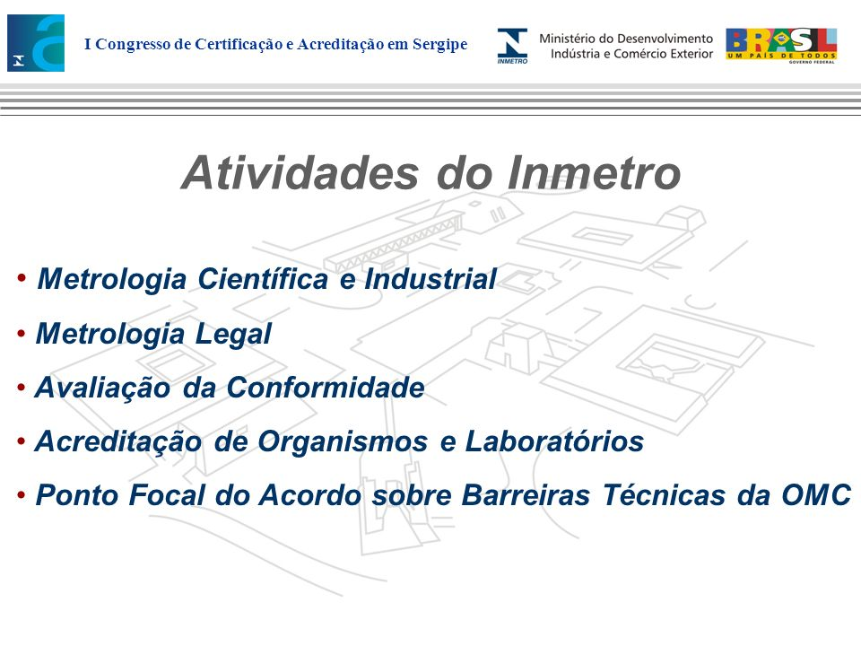 Atividades do Inmetro Metrologia Científica e Industrial