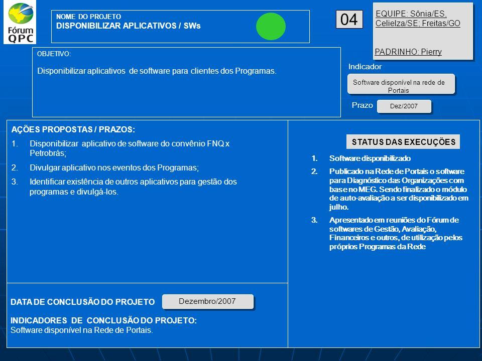 Software disponível na rede de Portais