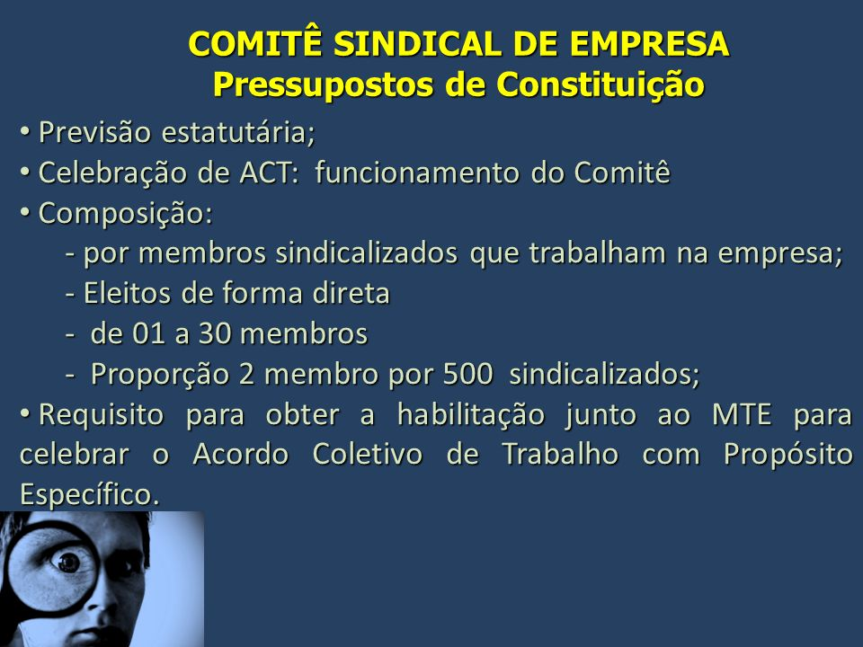 COMITÊ SINDICAL DE EMPRESA Pressupostos de Constituição