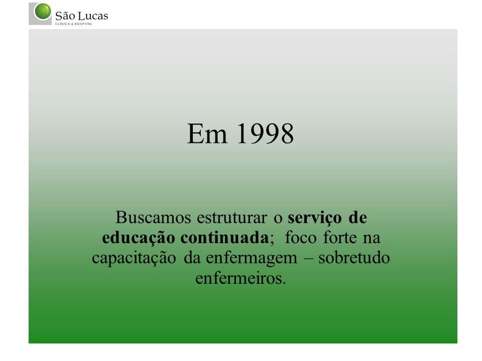 Em 1998Buscamos estruturar o serviço de educação continuada; foco forte na capacitação da enfermagem – sobretudo enfermeiros.