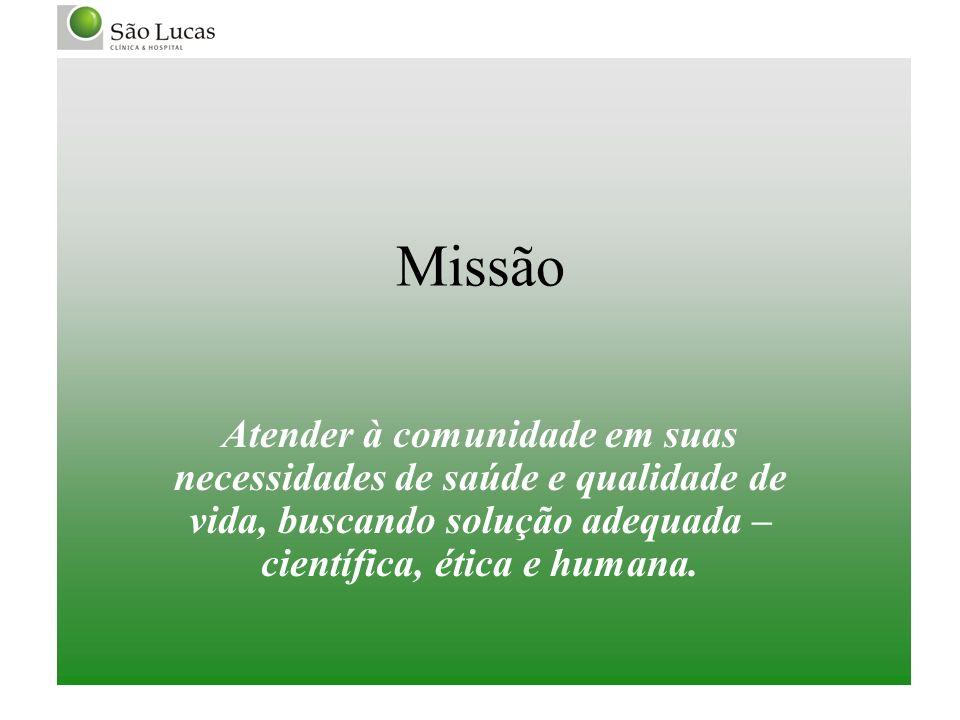 MissãoAtender à comunidade em suas necessidades de saúde e qualidade de vida, buscando solução adequada – científica, ética e humana.