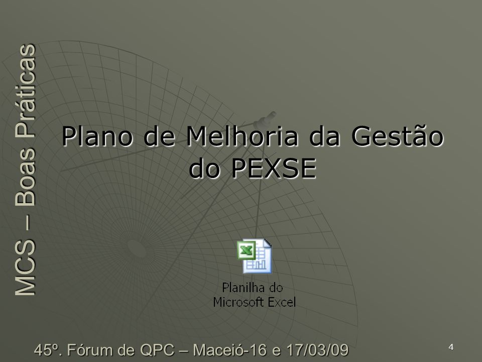 Plano de Melhoria da Gestão do PEXSE MCS – Boas Práticas