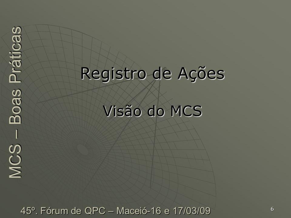 Registro de Ações Visão do MCS MCS – Boas Práticas
