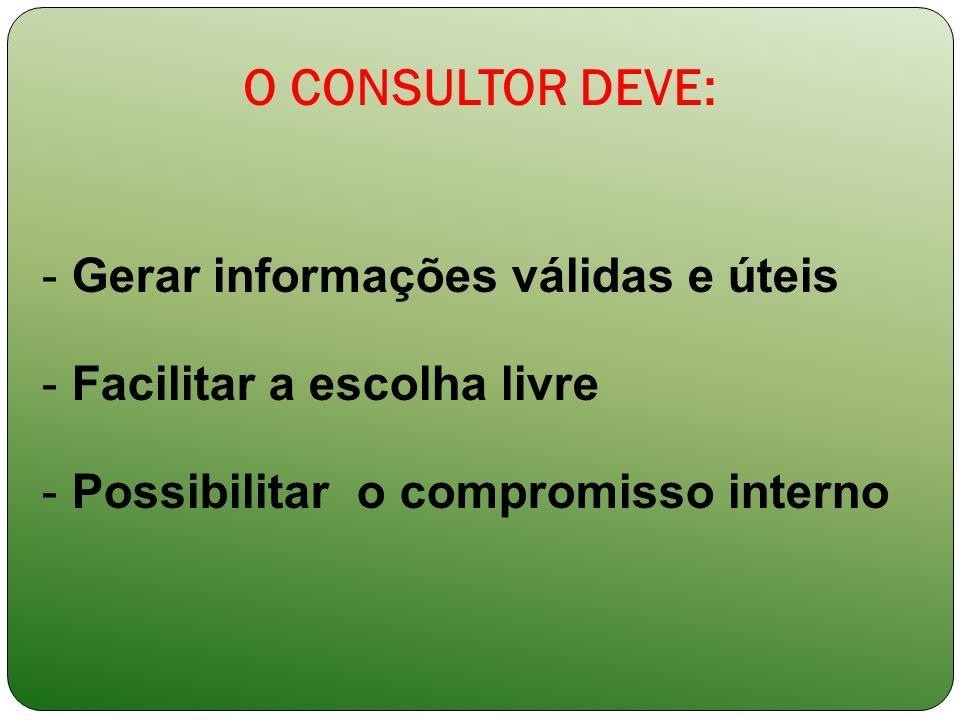 O CONSULTOR DEVE: - Gerar informações válidas e úteis