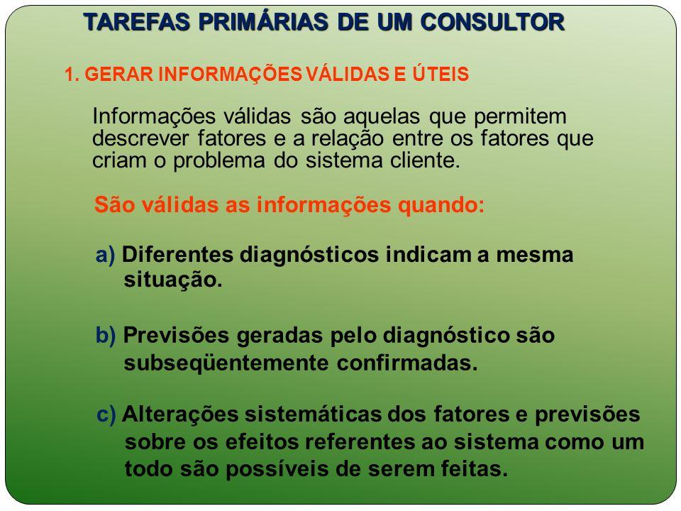 TAREFAS PRIMÁRIAS DE UM CONSULTOR