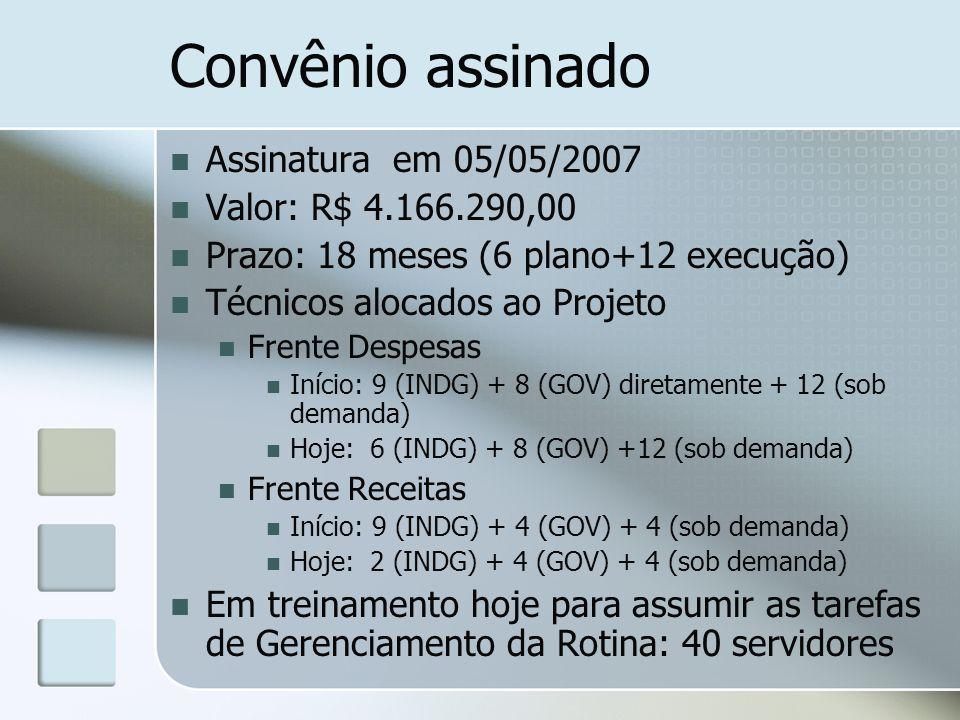 Convênio assinado Assinatura em 05/05/2007 Valor: R$ 4.166.290,00