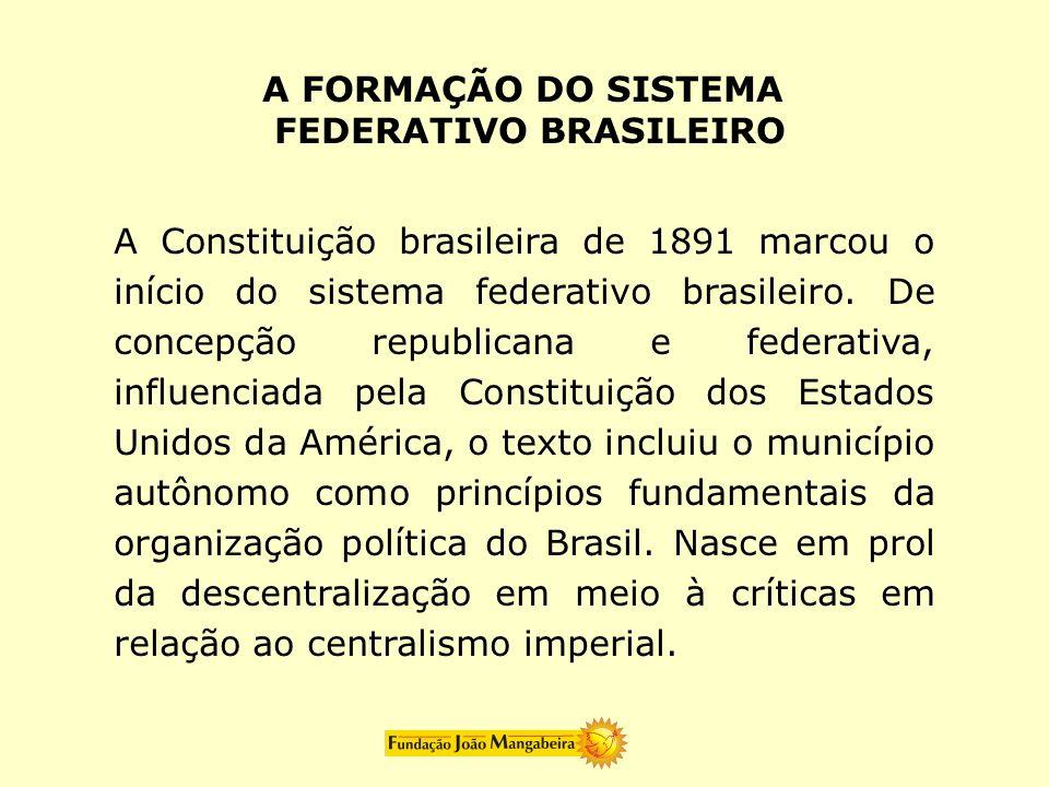 A FORMAÇÃO DO SISTEMAFEDERATIVO BRASILEIRO.