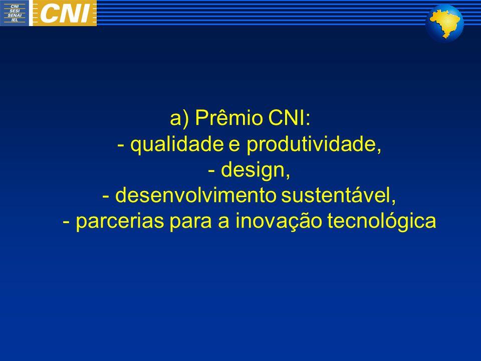 a) Prêmio CNI: - qualidade e produtividade, - design, - desenvolvimento sustentável, - parcerias para a inovação tecnológica